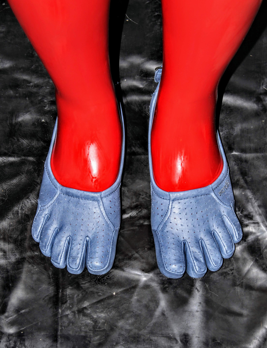 Red latex toe socks and blue Vibram FiveFingers | Leather/Rubber  Porn XXX | Hot XXX Gays
